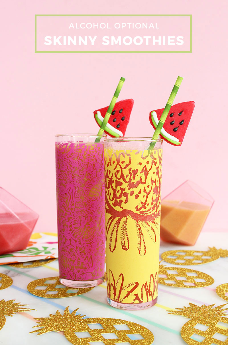 Skinny smoothies that can be made with alcohol.