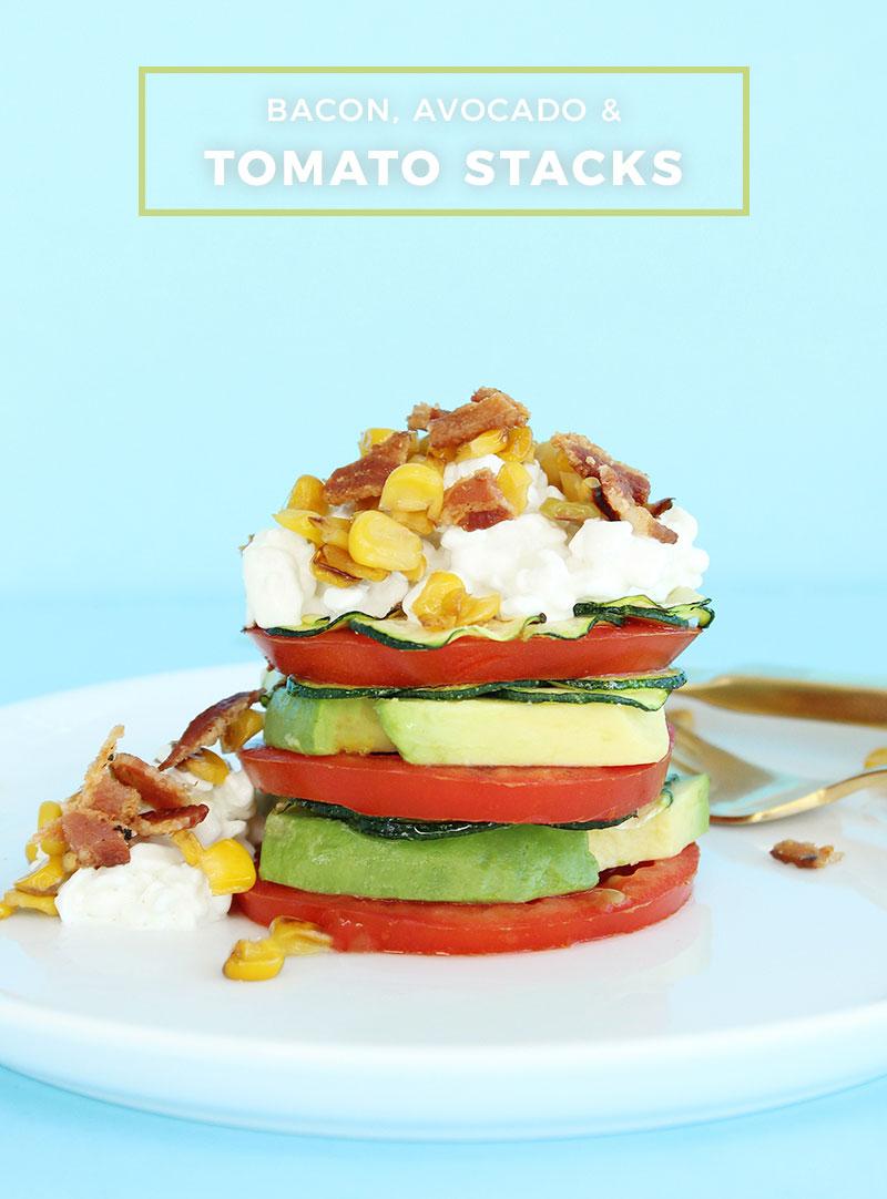 Bacon, Avocado and Tomato Stacks Recipe.