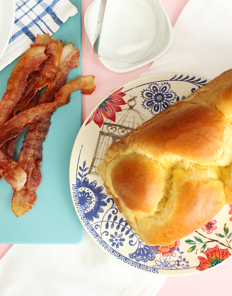 Braided french bread and bacon for stuffed french toast.