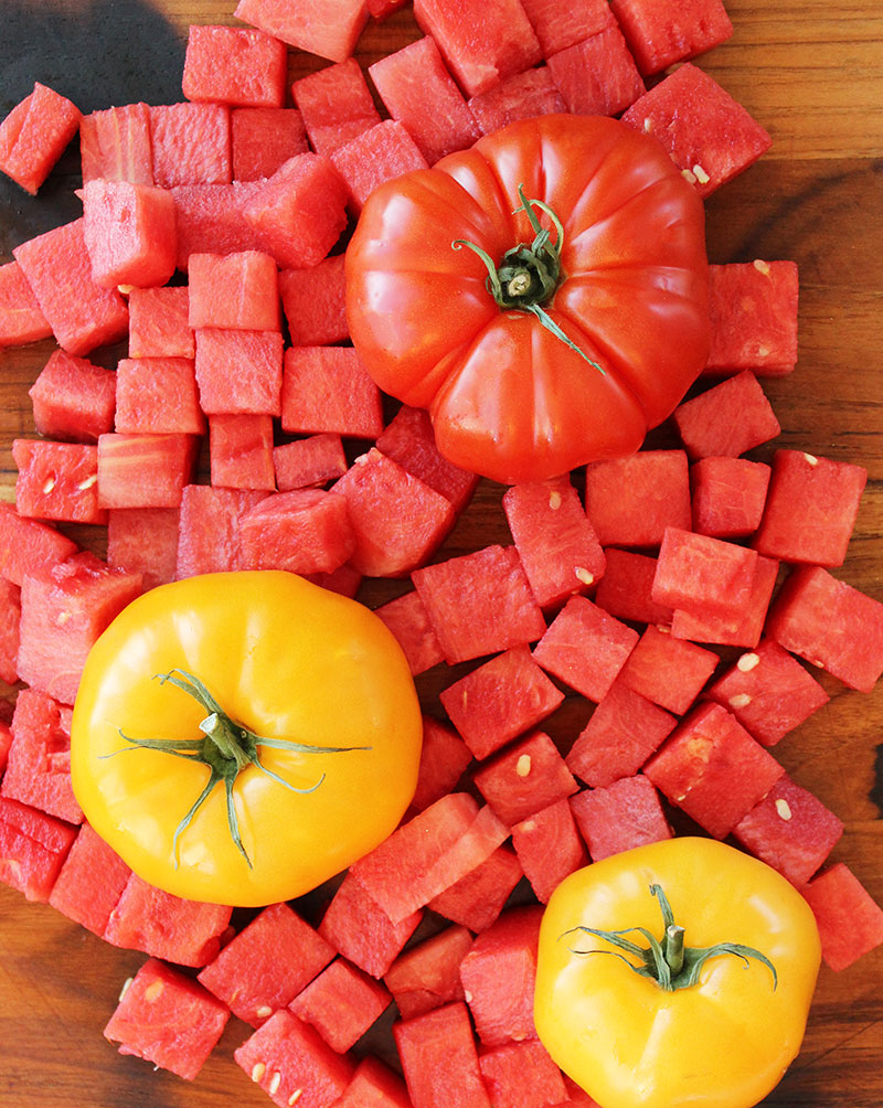Tomatoes and watermelon recipe.