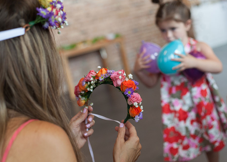 Crowning event flower crowns for a baby shower.