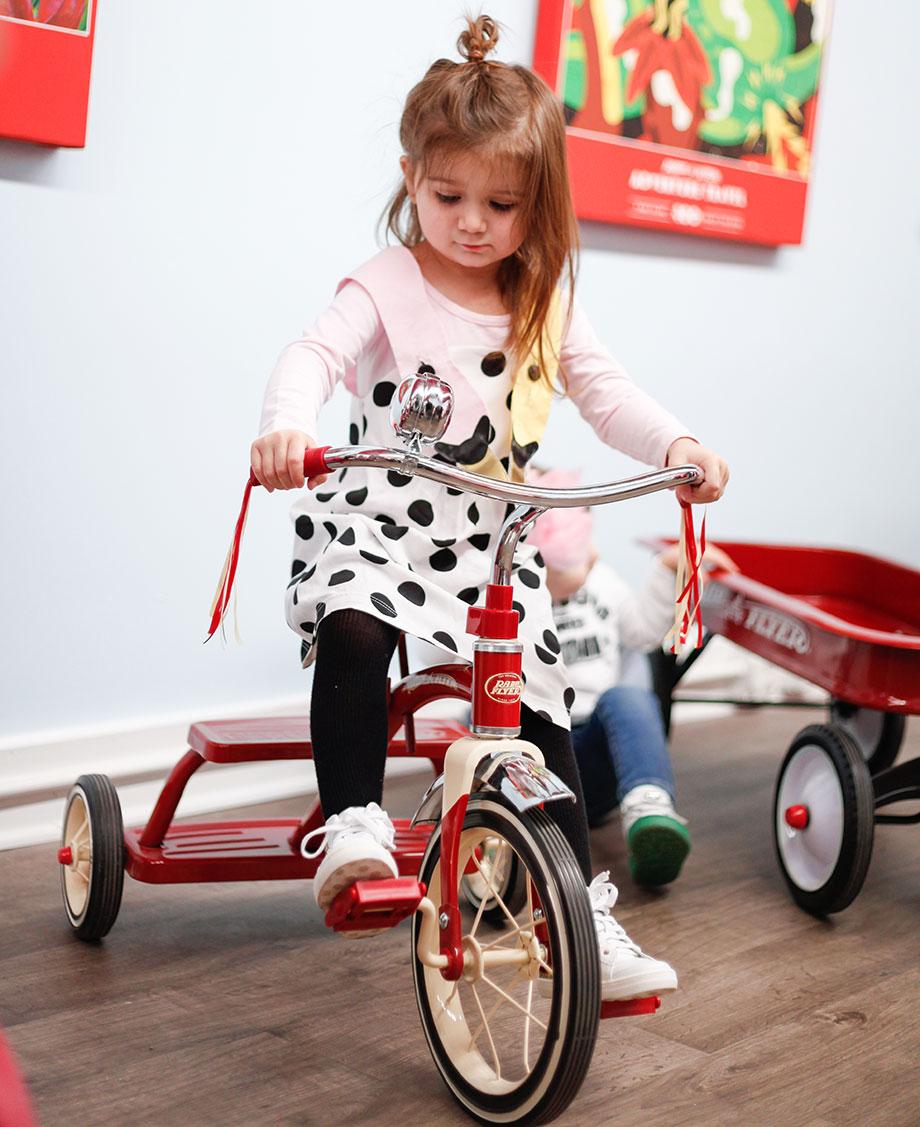 Zelda rides a Radio Flyer bike.