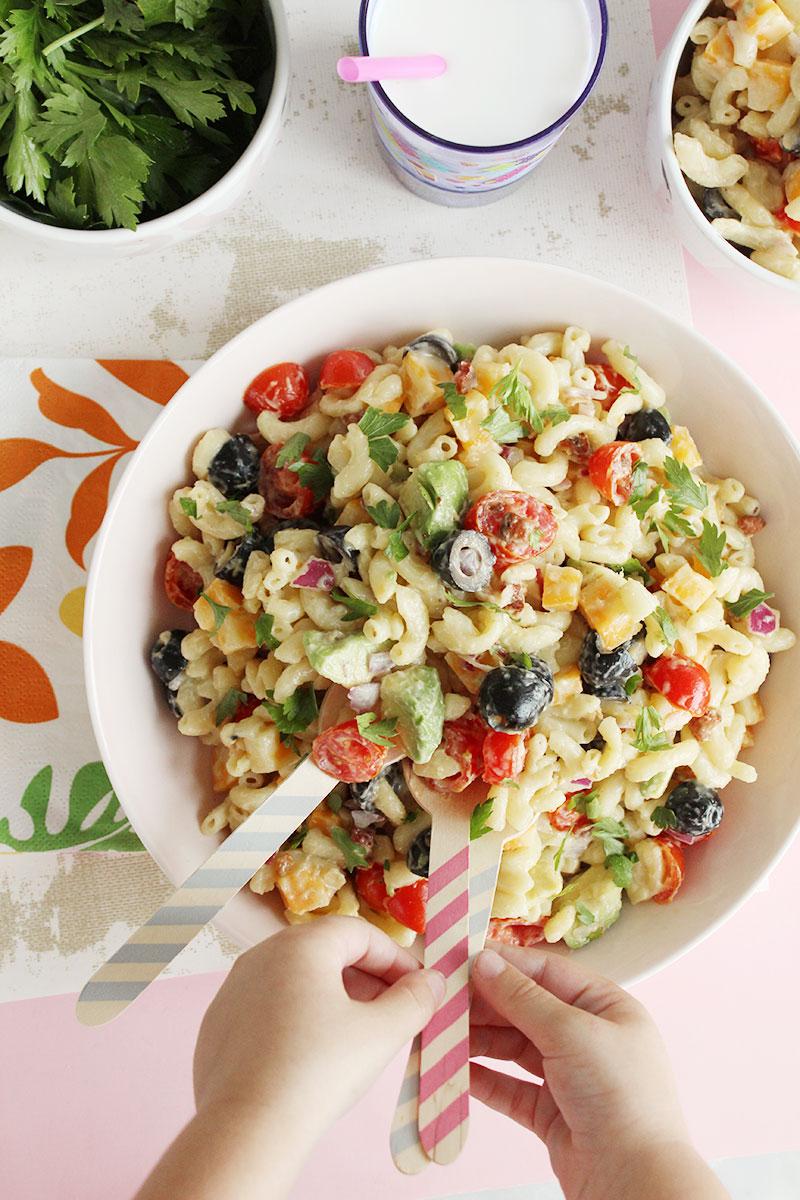 A toddler friendly rainbow macaroni salad.