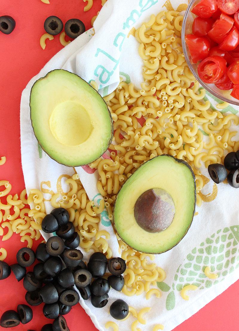Ingredients for rainbow macaroni salad.
