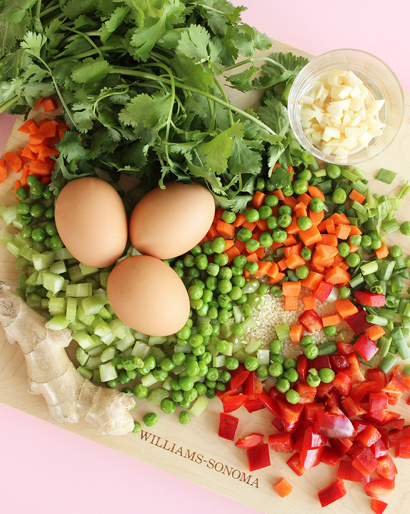 Fresh eggs and vegetables for cauliflower fried rice.