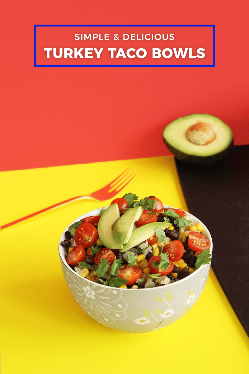 A simple and delicious recipe for a turkey taco bowl with avocado and rice.