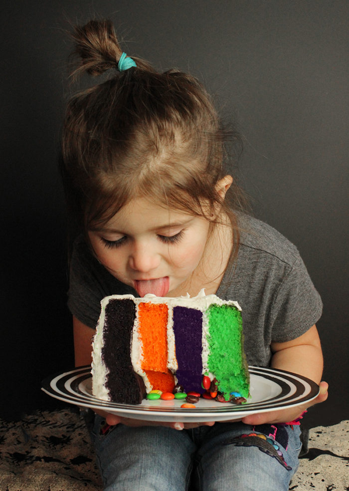 How to eat Halloween layer cake like a toddler.