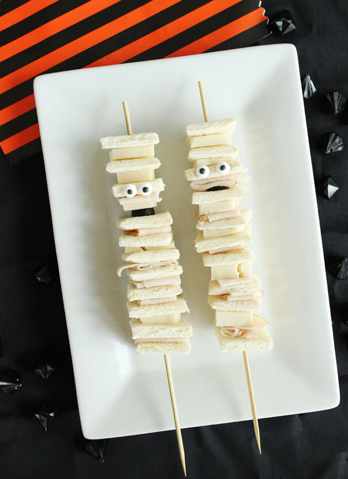 A quick recipe for spooky mummy sandwiches.