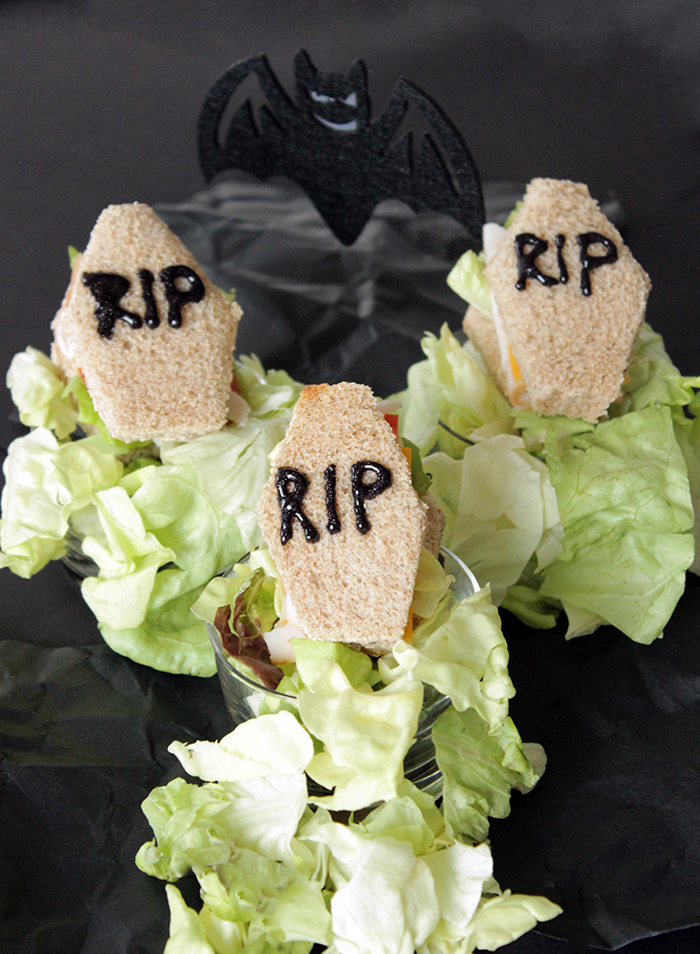 Simple Halloween recipes for min coffin sandwiches.