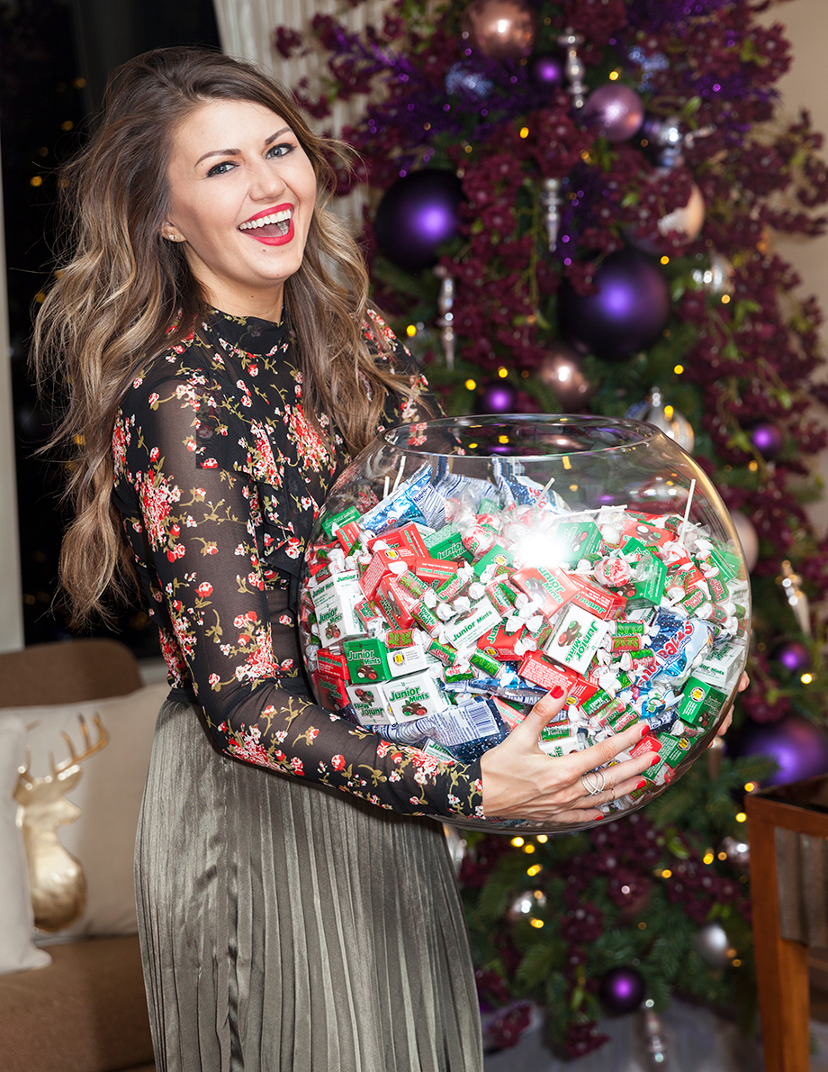 A big bowl of Christmas candy at the Swissotel.
