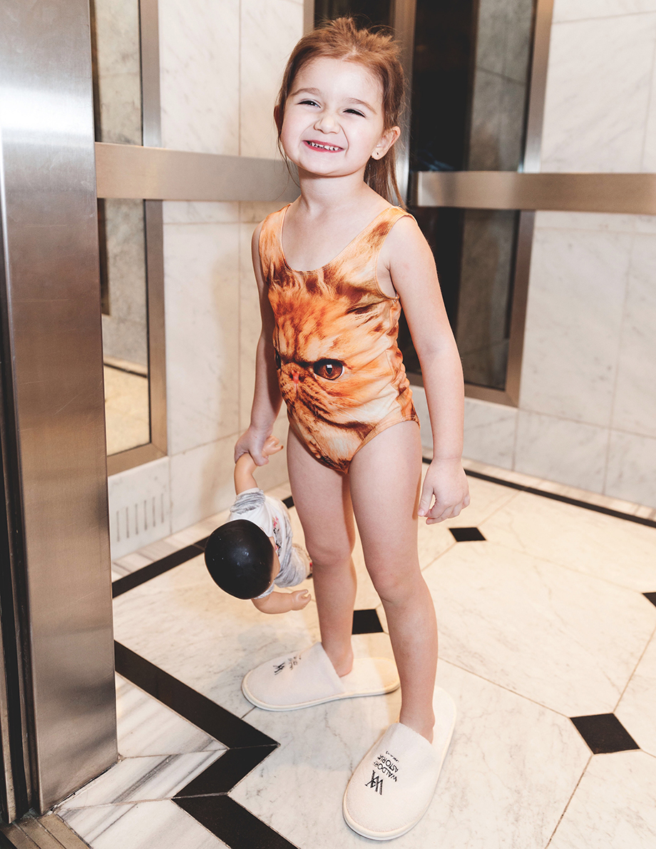 A grumpy kitty bathing suit for toddlers.