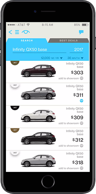 Browse cars on the Honcker app.
