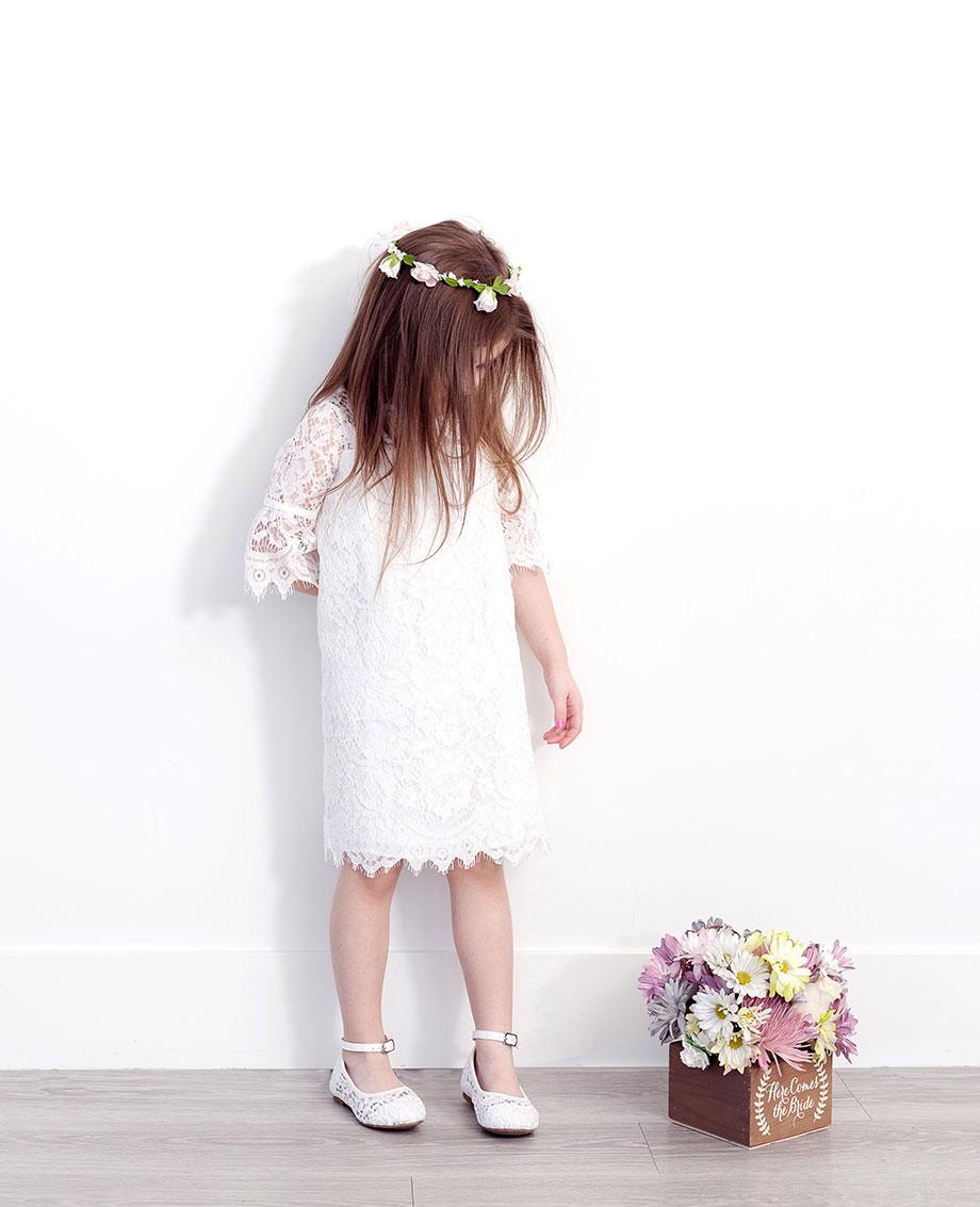 A bohemian flower girl dress from David's Bridal.