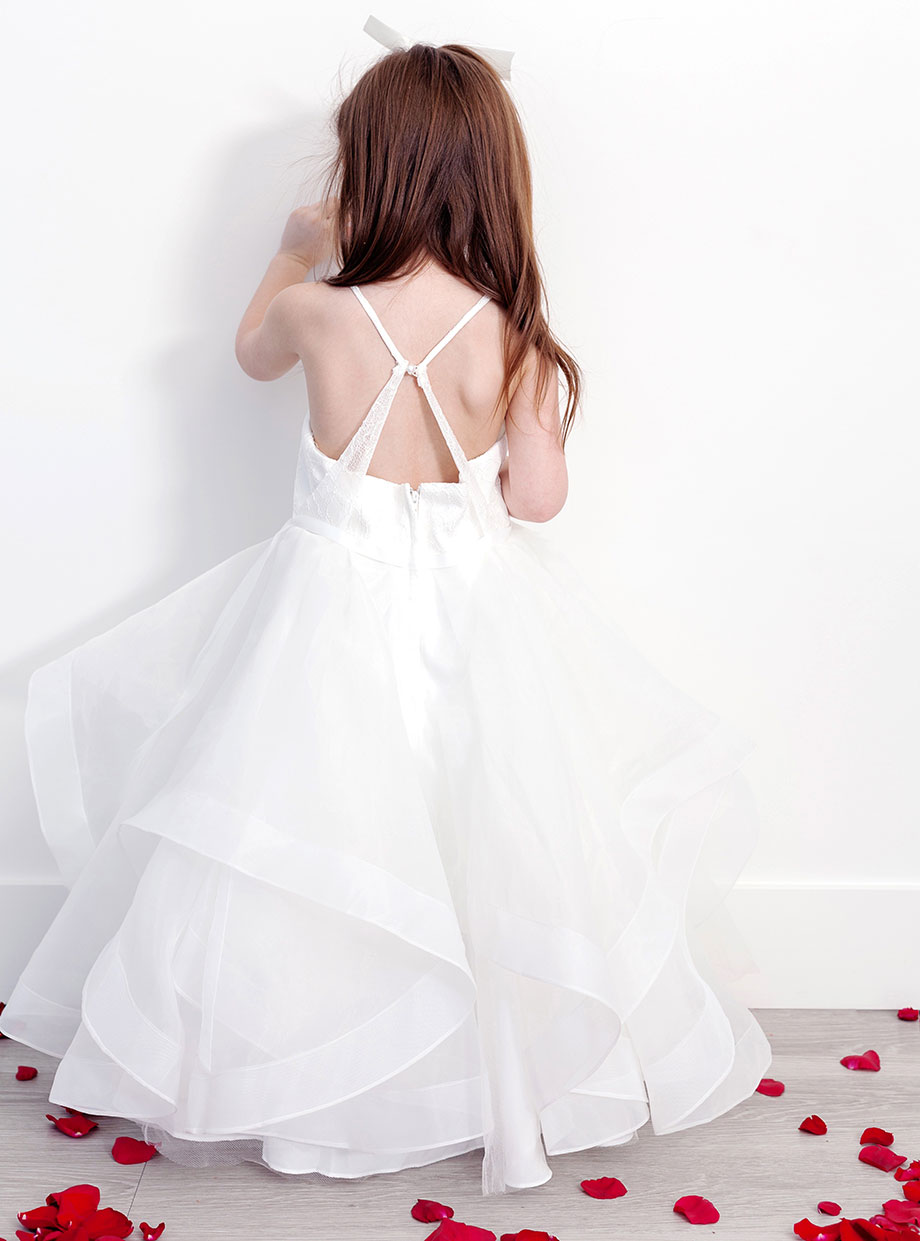 A pearl back flower girl's dress from David's Bridal.