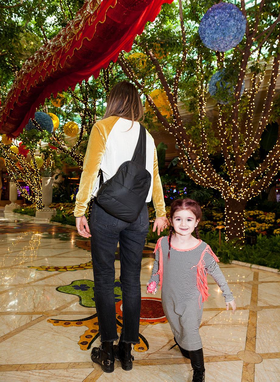 Corri McFadden and her daughter Zelda walk through The Wynn in Las Vegas.