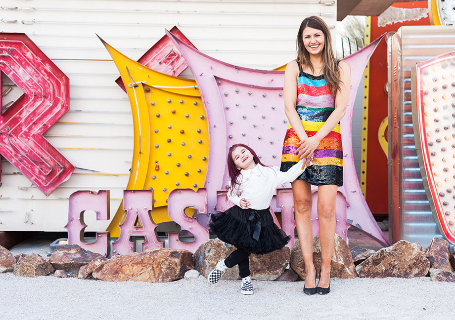 Corri McFadden wears an Alice and Olivia striped sequin dress at The Neon Museum in Las Vegas.