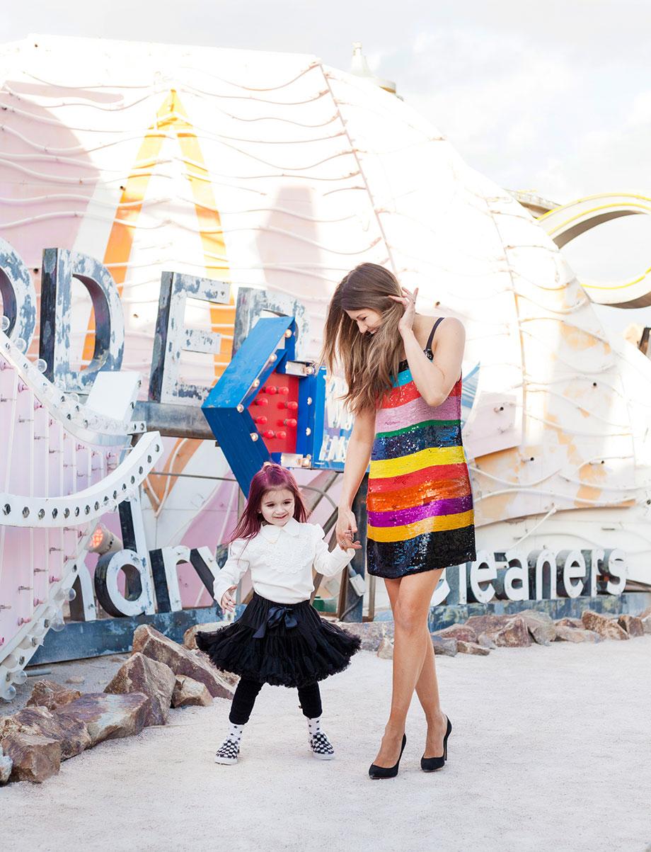 Mother daughter street style in Las Vegas.