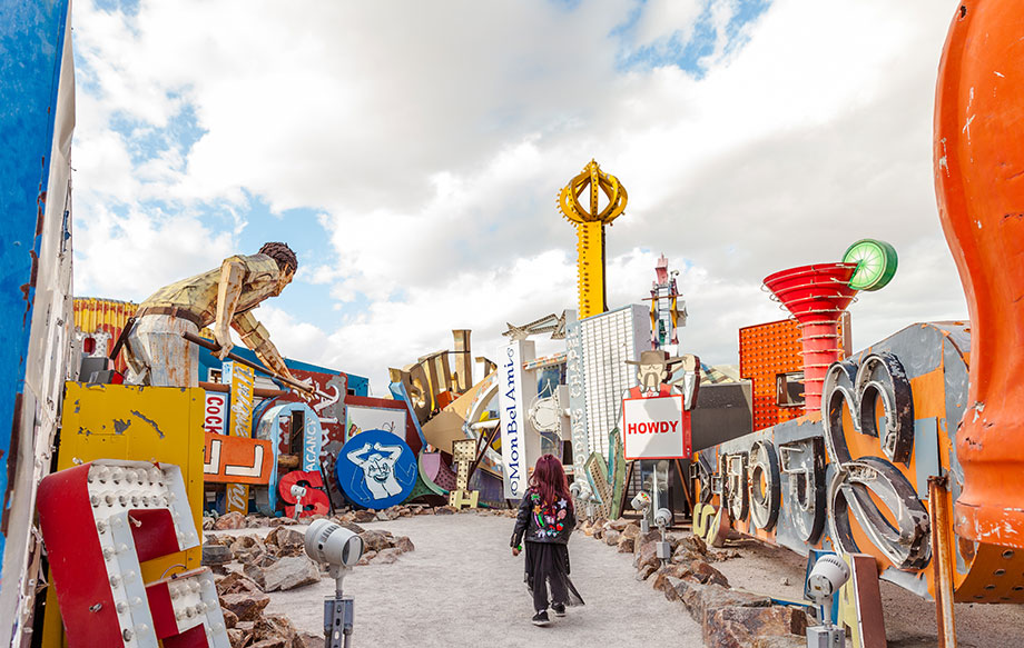 Zelda of Glitter and Bubbles enters the Neon Museum in Las Vegas.