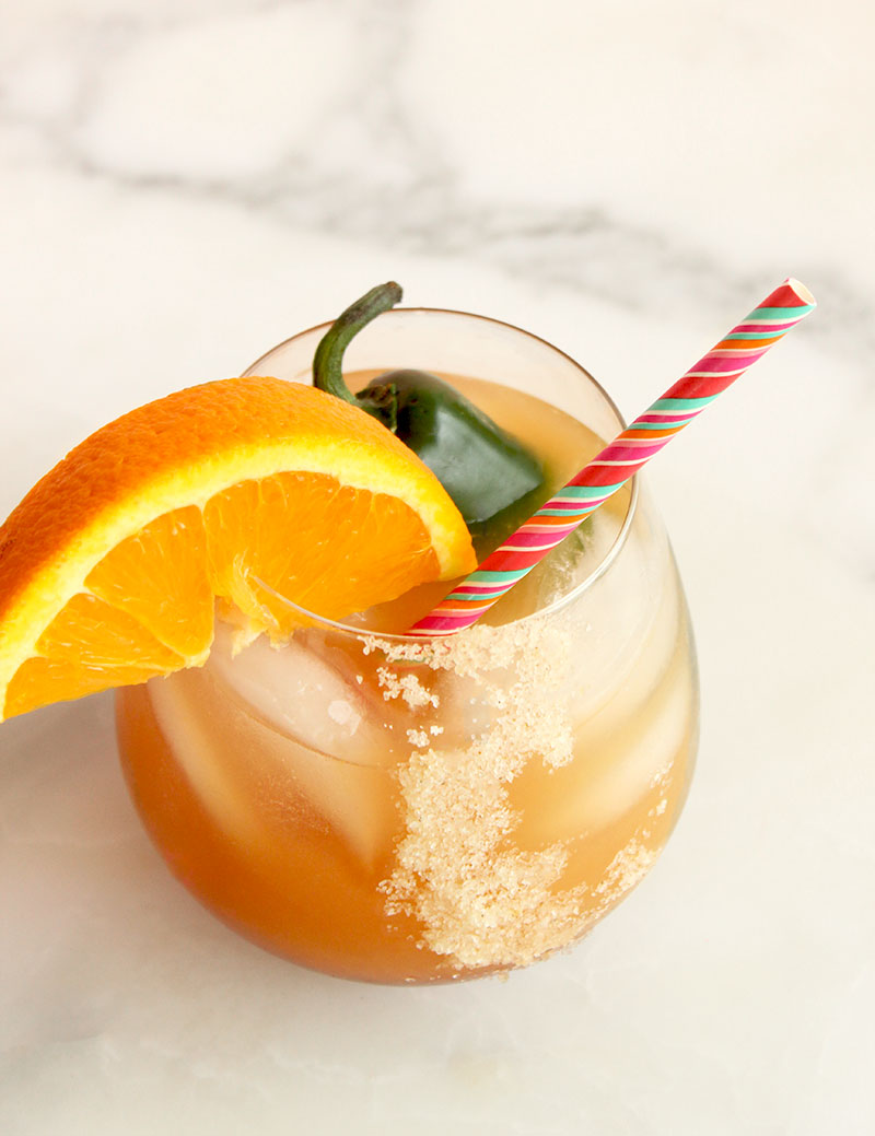 A spicy tequila cocktail recipe by Corri McFadden and Agave in the Raw.
