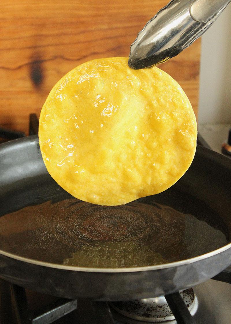 Corri McFadden of Glitter and Bubbles shows readers how to make deep fried corn tortillas.