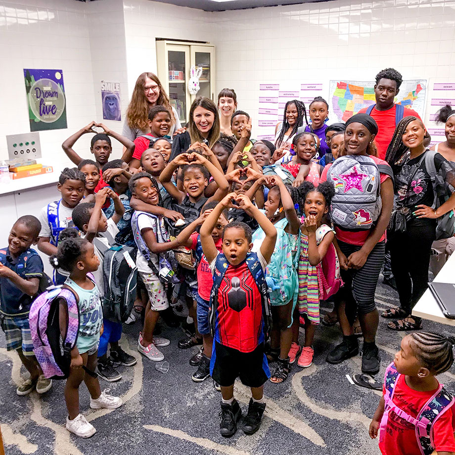 Corri McFadden visits Chicago's Englewood Youth Center.