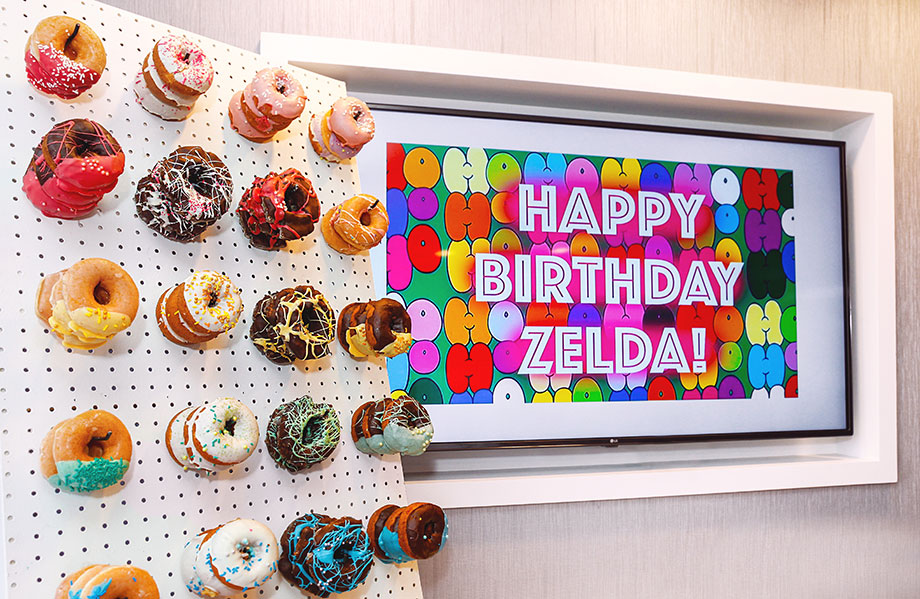 Happy Birthday Zelda donut wall.