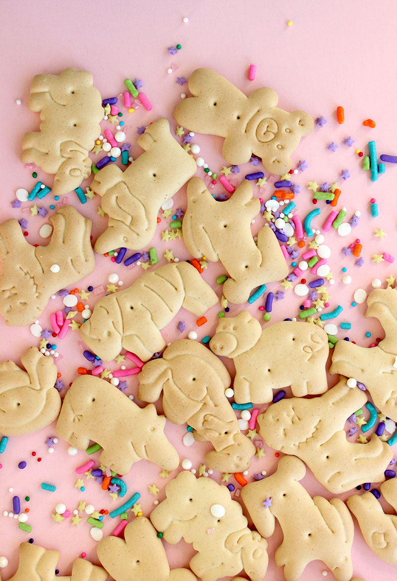 Animal crackers and sprinkles on Glitter and Bubbles.