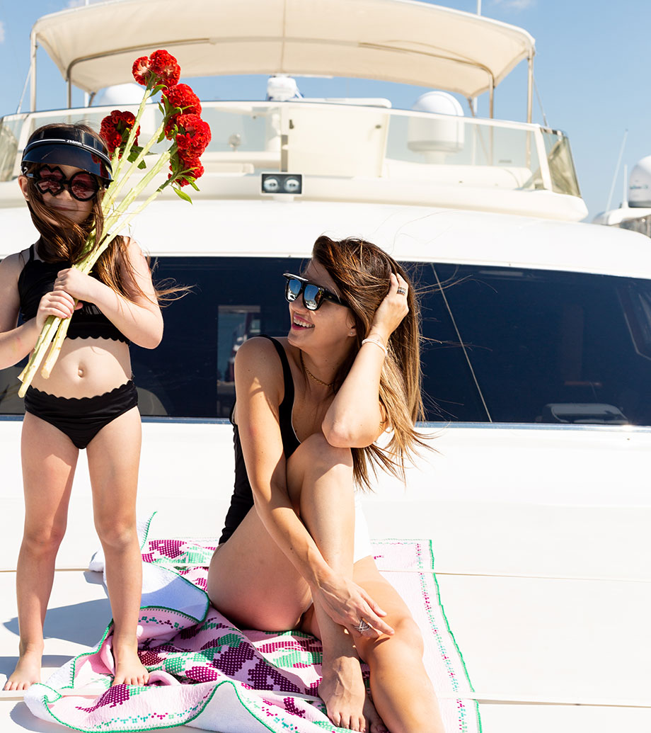 Mother Daughter Black and White Swimwear Ideas on Glitter and Bubbles.