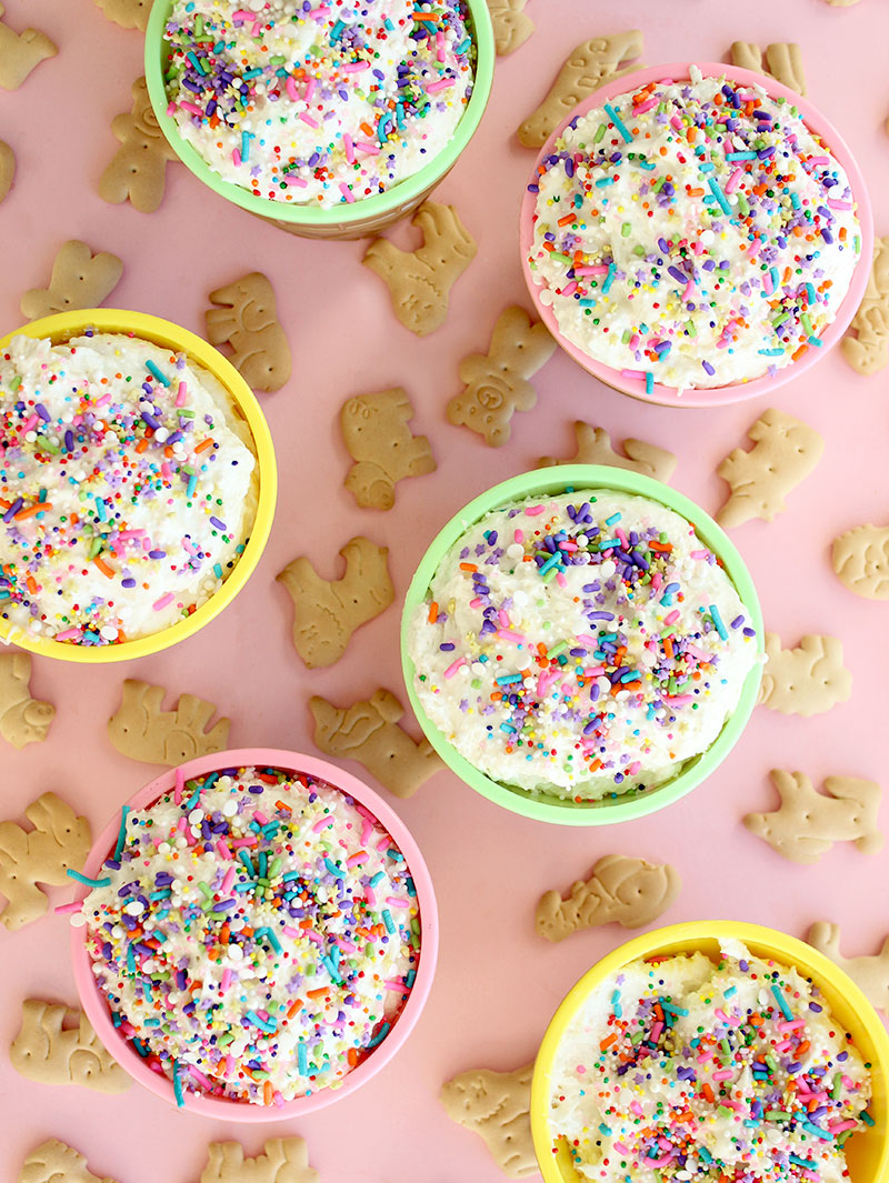 Corri McFadden shows readers how to make cake batter dip with sprinkles and animal crackers.