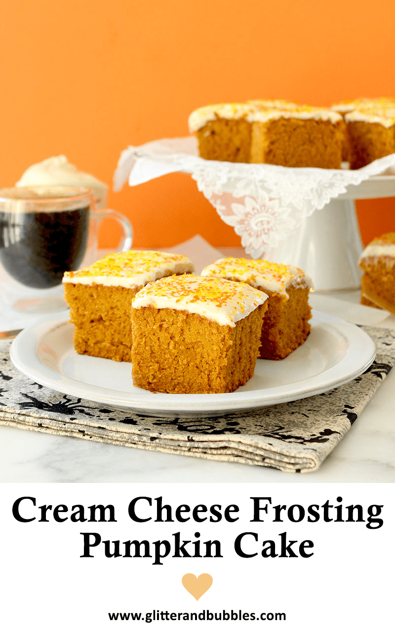 An easy recipe for pumpkin cake with cream cheese frosting.