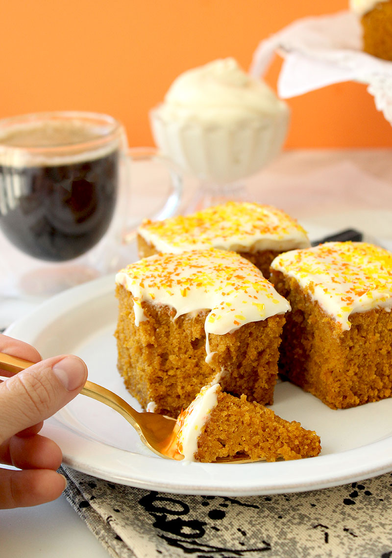 A delicious recipe for pumpkin cake with cream cheese frosting on Glitter and Bubbles.