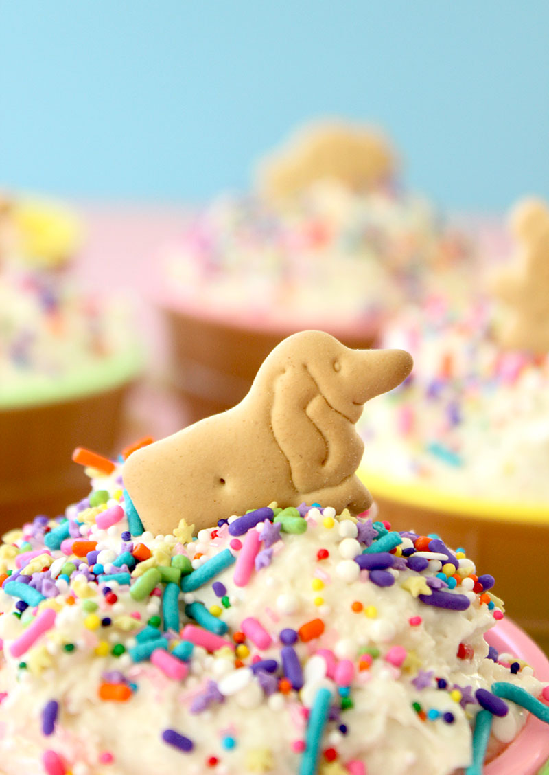 A fun dessert recipe for kids with sprinkles and animal crackers.
