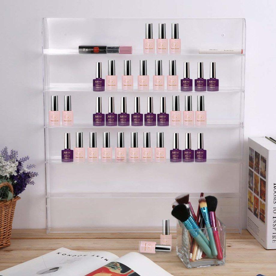 A creative closet DIY for sunglasses using a nail polish stand.