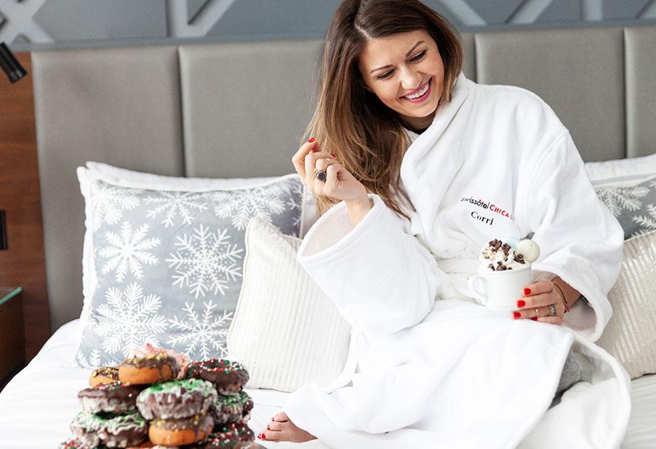 Corri McFadden has breakfast in bed at the Swissotel Santa Suite.
