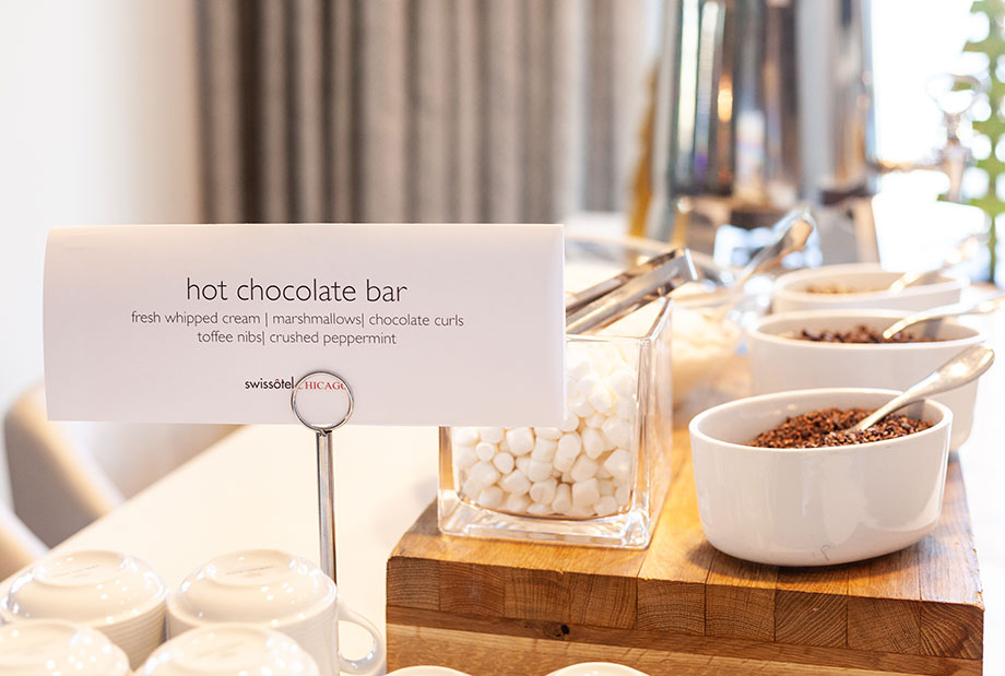 A hot chocolate bar at the Swissotel.