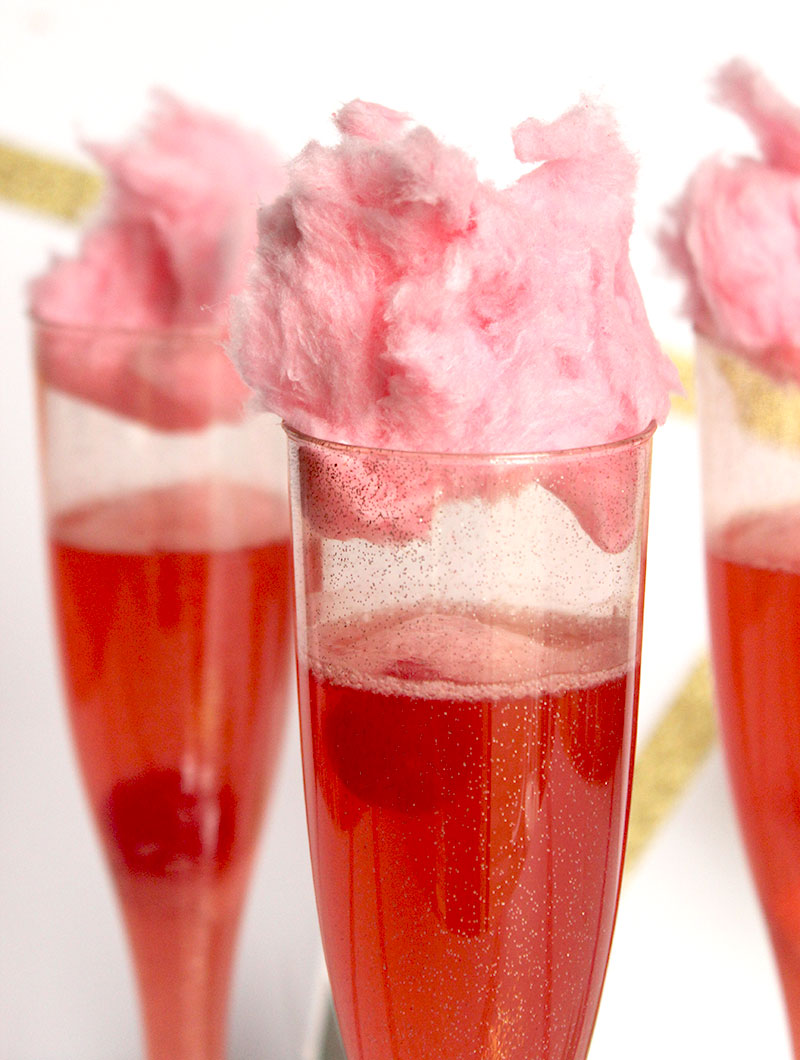 A cotton candy cherry cocktail on Glitter and Bubbles.