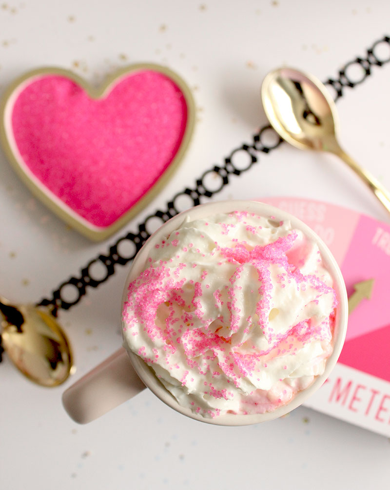 How to make delicious pink hot chocolate from Glitter and Bubbles.
