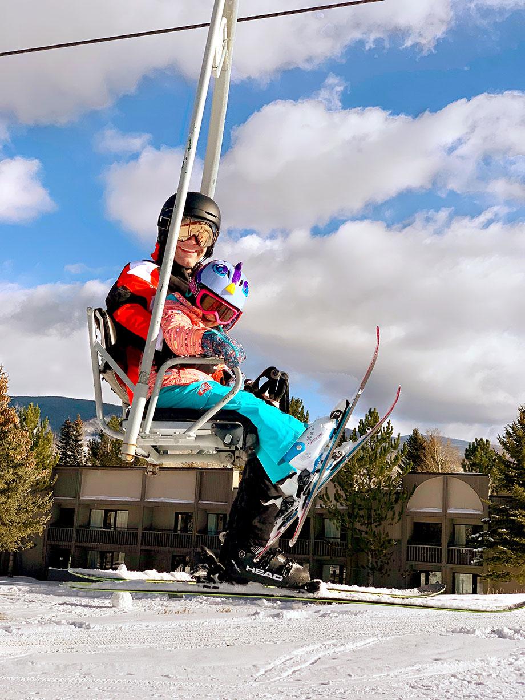 Zelda of Glitter and Bubbles skis in Aspen, Colorado.