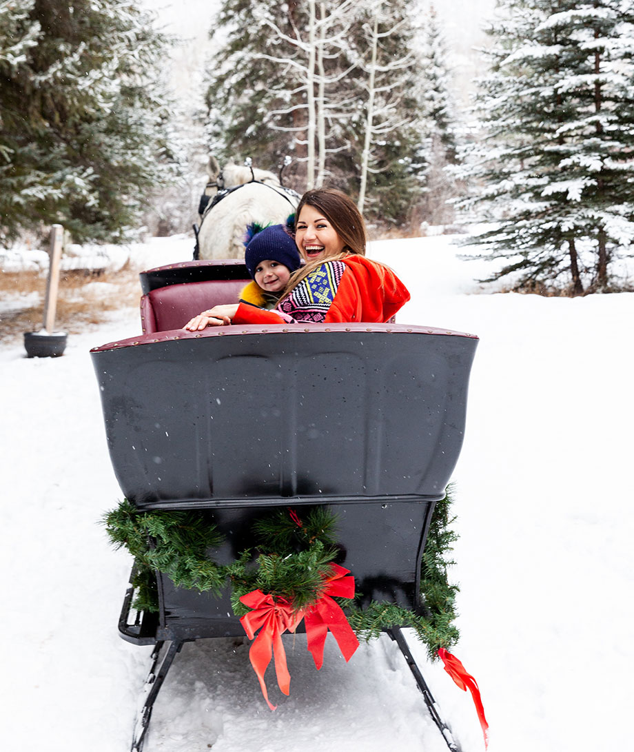 Zelda and Corri McFadden ride in a sleigh at Aspen Carriage and Sleigh.