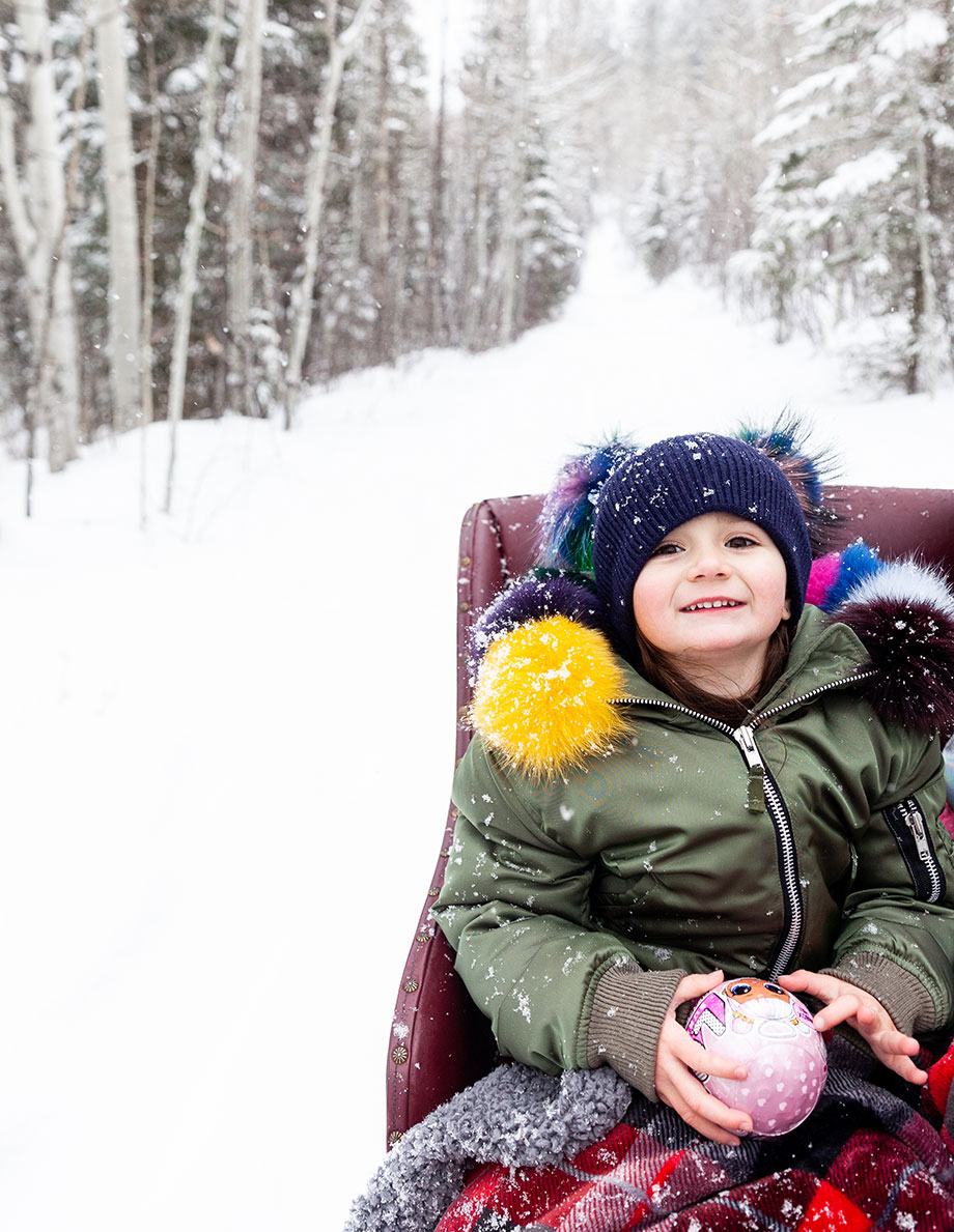 Zelda of Glitter and Bubbles rides in a horse and carriage in Aspen.