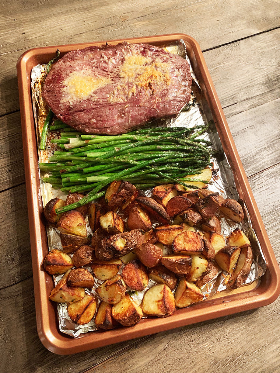 Parmesan Crusted Steak and Potato Sheet Pan Dinner by Glitter and Bubbles.