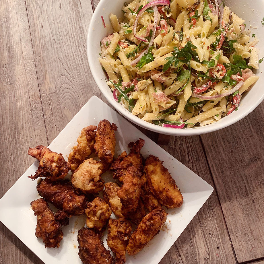 How to make the best quick fried chicken and pasta salad.