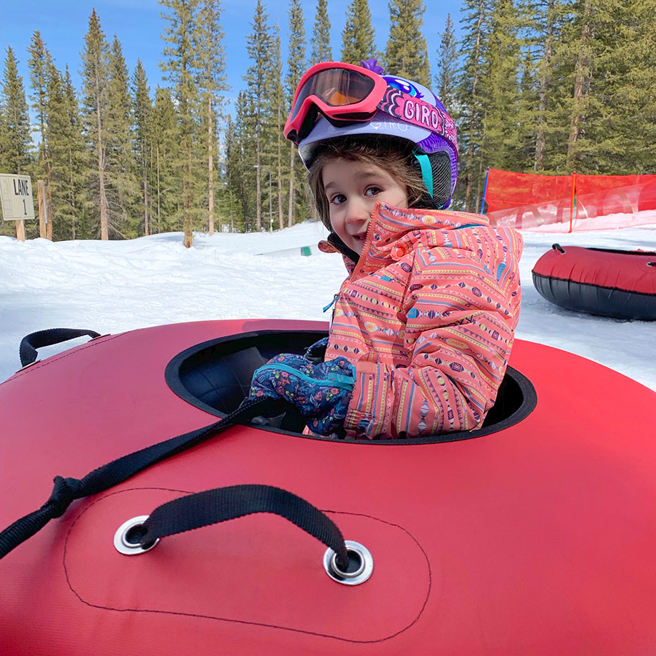 Zelda of Glitter and Bubbles goes snow tubing in Aspen.
