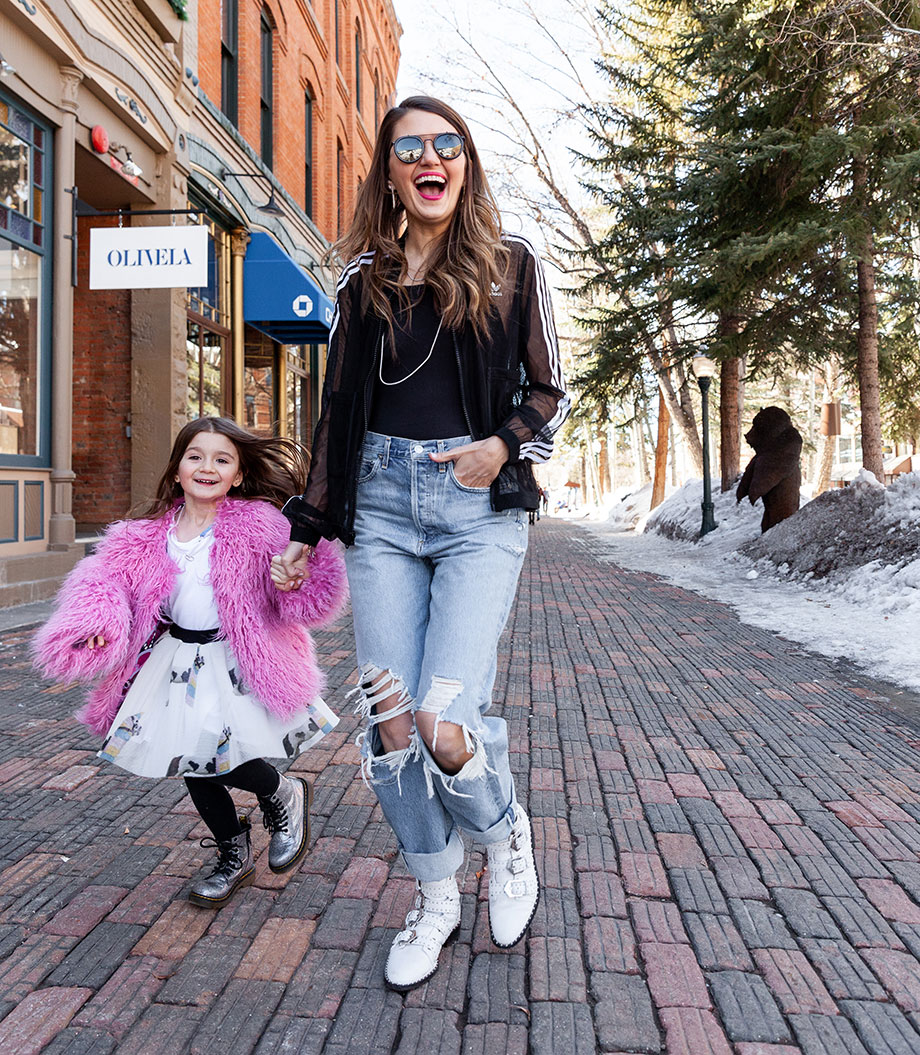 Corri and Zelda of Glitter and Bubbles stand in the street in Aspen.