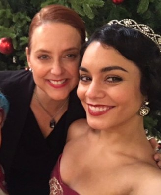 Suanne Braun with Vanessa Hudgens on the Set of The Princess Switch