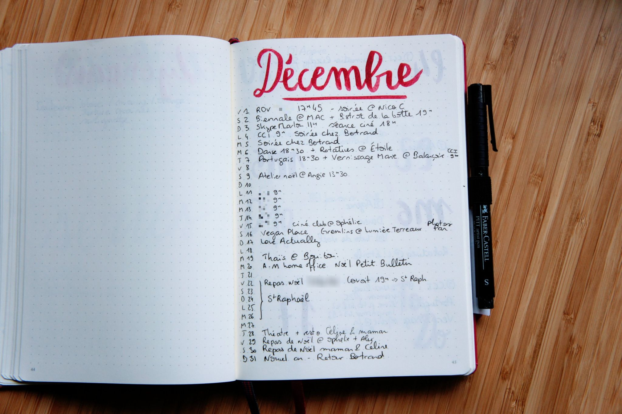 Bullet journal : page mois