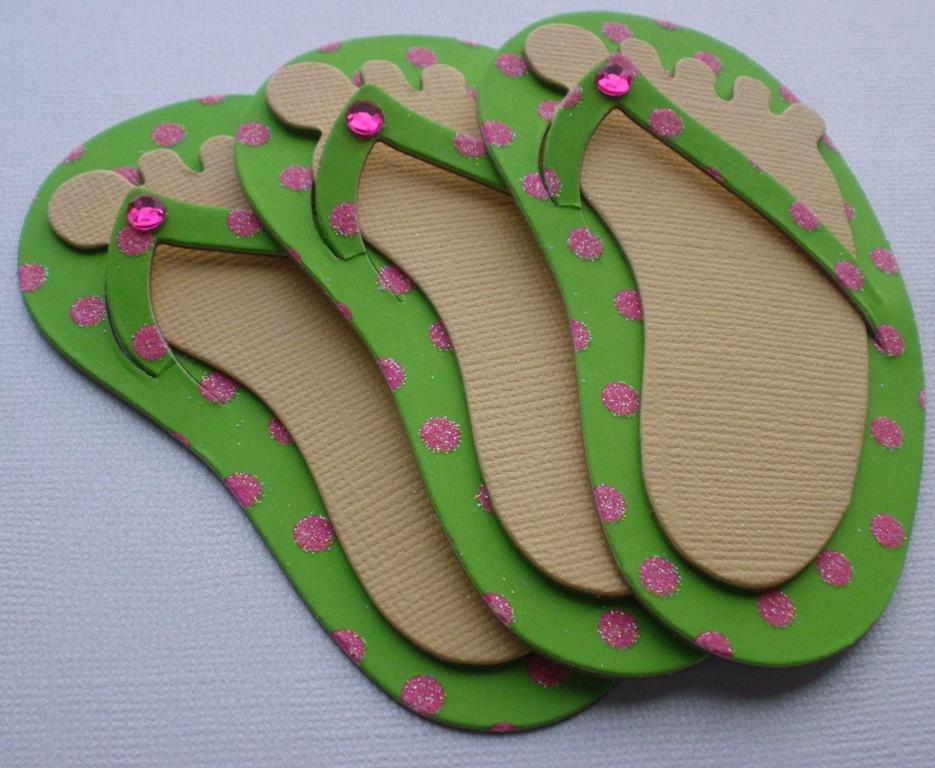 3 Kiwi Dot Glitter Flip Flop Chipboard Cut