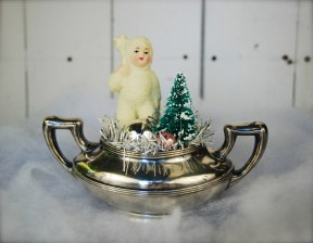Vintage snow baby in an EPNS sugar bowl. $36 *SOLD*
