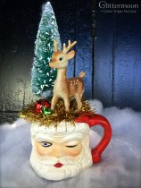 Large Santa mug with a reindeer and a tree on top $36