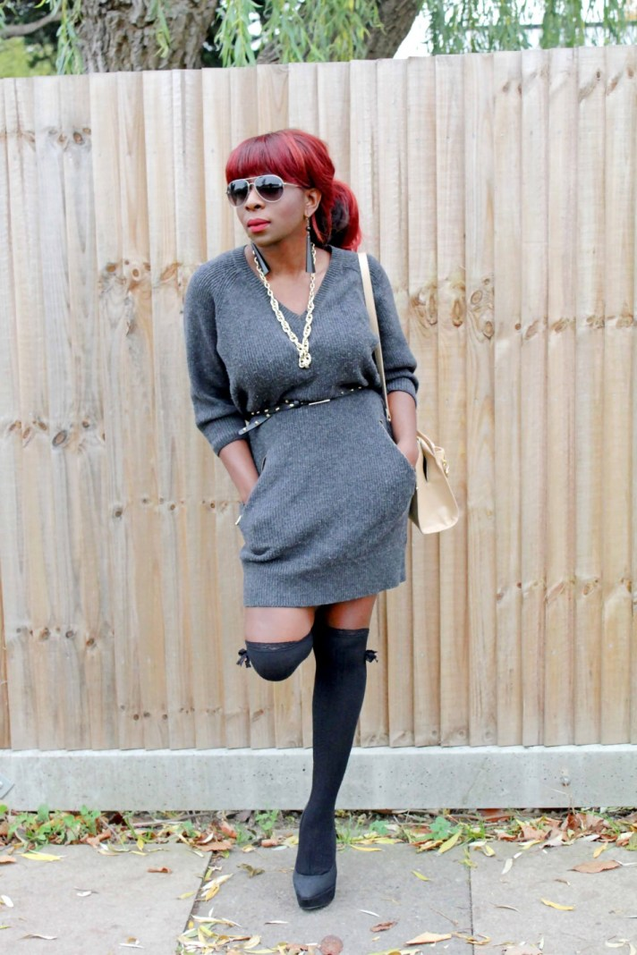 Sweater Dress and Knee high Socks